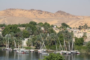 The Nile view from our room at Hotel Hathor in Aswan, Egypt